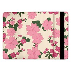 Vintage Floral Wallpaper Background In Shades Of Pink Samsung Galaxy Tab Pro 12.2  Flip Case
