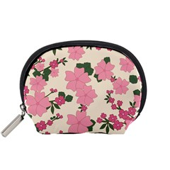 Vintage Floral Wallpaper Background In Shades Of Pink Accessory Pouches (small)