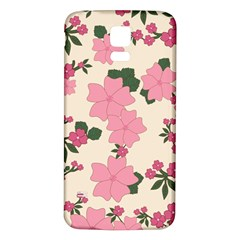 Vintage Floral Wallpaper Background In Shades Of Pink Samsung Galaxy S5 Back Case (White)