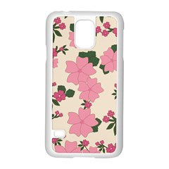 Vintage Floral Wallpaper Background In Shades Of Pink Samsung Galaxy S5 Case (White)