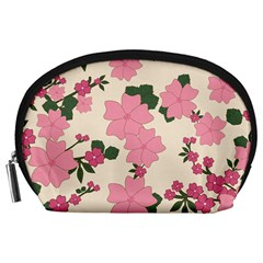 Vintage Floral Wallpaper Background In Shades Of Pink Accessory Pouches (Large)