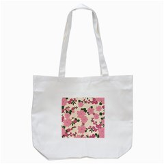 Vintage Floral Wallpaper Background In Shades Of Pink Tote Bag (White)