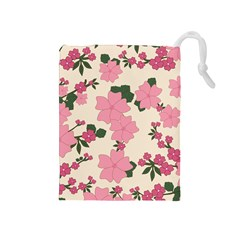 Vintage Floral Wallpaper Background In Shades Of Pink Drawstring Pouches (Medium)
