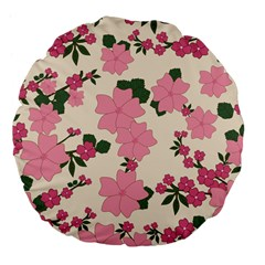 Vintage Floral Wallpaper Background In Shades Of Pink Large 18  Premium Flano Round Cushions