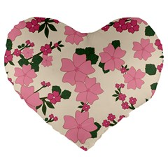 Vintage Floral Wallpaper Background In Shades Of Pink Large 19  Premium Flano Heart Shape Cushions