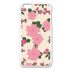 Vintage Floral Wallpaper Background In Shades Of Pink Apple iPhone 6 Plus/6S Plus Enamel White Case
