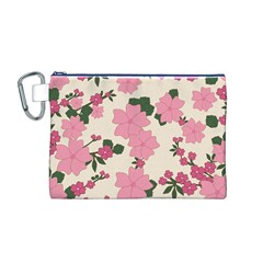 Vintage Floral Wallpaper Background In Shades Of Pink Canvas Cosmetic Bag (M)