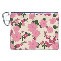 Vintage Floral Wallpaper Background In Shades Of Pink Canvas Cosmetic Bag (XXL)