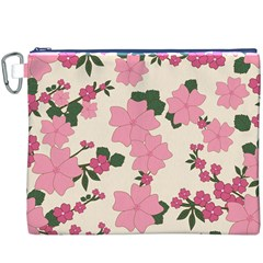 Vintage Floral Wallpaper Background In Shades Of Pink Canvas Cosmetic Bag (XXXL)