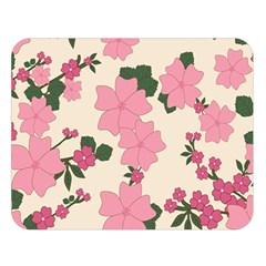 Vintage Floral Wallpaper Background In Shades Of Pink Double Sided Flano Blanket (large)