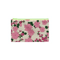 Vintage Floral Wallpaper Background In Shades Of Pink Cosmetic Bag (xs)