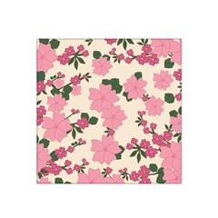 Vintage Floral Wallpaper Background In Shades Of Pink Satin Bandana Scarf