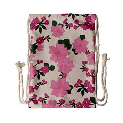 Vintage Floral Wallpaper Background In Shades Of Pink Drawstring Bag (Small)