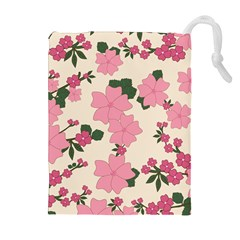 Vintage Floral Wallpaper Background In Shades Of Pink Drawstring Pouches (extra Large)