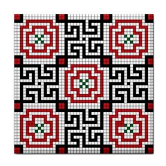 Vintage Style Seamless Black White And Red Tile Pattern Wallpaper Background Tile Coasters