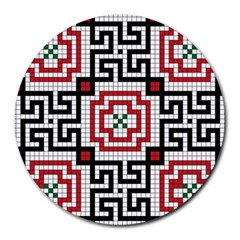 Vintage Style Seamless Black White And Red Tile Pattern Wallpaper Background Round Mousepads