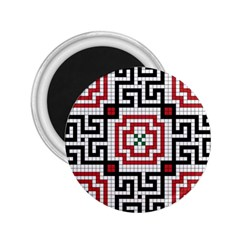 Vintage Style Seamless Black White And Red Tile Pattern Wallpaper Background 2.25  Magnets