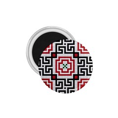Vintage Style Seamless Black White And Red Tile Pattern Wallpaper Background 1.75  Magnets