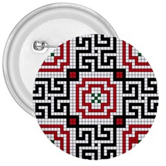 Vintage Style Seamless Black White And Red Tile Pattern Wallpaper Background 3  Buttons