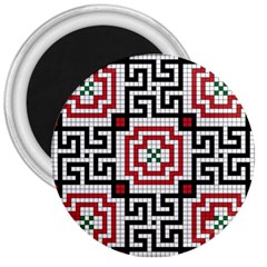 Vintage Style Seamless Black White And Red Tile Pattern Wallpaper Background 3  Magnets