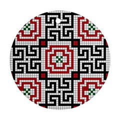 Vintage Style Seamless Black White And Red Tile Pattern Wallpaper Background Ornament (round)