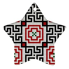 Vintage Style Seamless Black White And Red Tile Pattern Wallpaper Background Ornament (star)