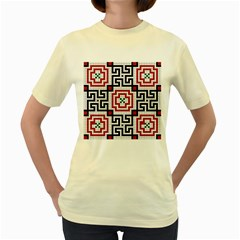 Vintage Style Seamless Black White And Red Tile Pattern Wallpaper Background Women s Yellow T Shirt