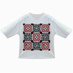 Vintage Style Seamless Black White And Red Tile Pattern Wallpaper Background Infant/toddler T Shirts