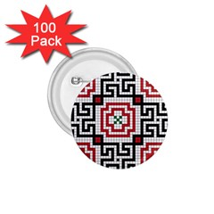 Vintage Style Seamless Black White And Red Tile Pattern Wallpaper Background 1 75  Buttons (100 Pack)