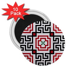 Vintage Style Seamless Black White And Red Tile Pattern Wallpaper Background 2 25  Magnets (10 Pack)