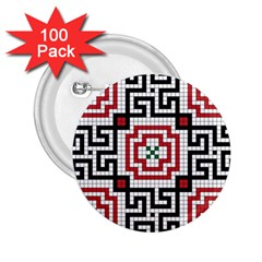 Vintage Style Seamless Black White And Red Tile Pattern Wallpaper Background 2.25  Buttons (100 pack)