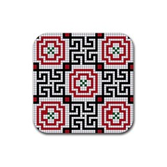 Vintage Style Seamless Black White And Red Tile Pattern Wallpaper Background Rubber Coaster (Square)