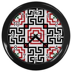 Vintage Style Seamless Black White And Red Tile Pattern Wallpaper Background Wall Clocks (black)