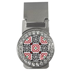 Vintage Style Seamless Black White And Red Tile Pattern Wallpaper Background Money Clips (cz)