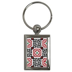 Vintage Style Seamless Black White And Red Tile Pattern Wallpaper Background Key Chains (Rectangle)