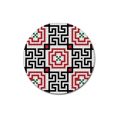 Vintage Style Seamless Black White And Red Tile Pattern Wallpaper Background Magnet 3  (Round)