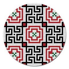 Vintage Style Seamless Black White And Red Tile Pattern Wallpaper Background Magnet 5  (round)