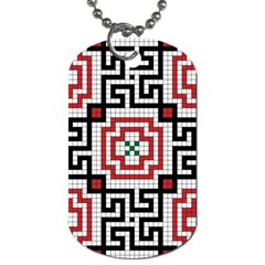 Vintage Style Seamless Black White And Red Tile Pattern Wallpaper Background Dog Tag (One Side)