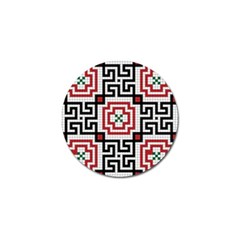 Vintage Style Seamless Black White And Red Tile Pattern Wallpaper Background Golf Ball Marker (4 Pack)