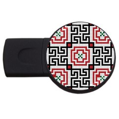 Vintage Style Seamless Black White And Red Tile Pattern Wallpaper Background USB Flash Drive Round (1 GB)