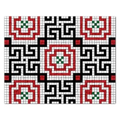 Vintage Style Seamless Black White And Red Tile Pattern Wallpaper Background Rectangular Jigsaw Puzzl