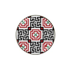 Vintage Style Seamless Black White And Red Tile Pattern Wallpaper Background Hat Clip Ball Marker