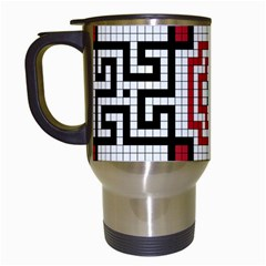 Vintage Style Seamless Black White And Red Tile Pattern Wallpaper Background Travel Mugs (white)