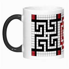 Vintage Style Seamless Black White And Red Tile Pattern Wallpaper Background Morph Mugs