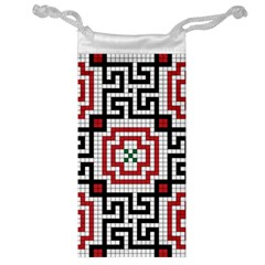 Vintage Style Seamless Black White And Red Tile Pattern Wallpaper Background Jewelry Bag