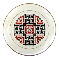 Vintage Style Seamless Black White And Red Tile Pattern Wallpaper Background Porcelain Plates