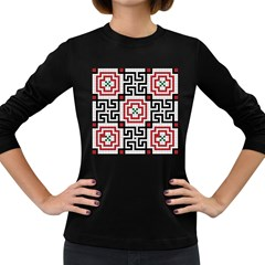 Vintage Style Seamless Black White And Red Tile Pattern Wallpaper Background Women s Long Sleeve Dark T-Shirts
