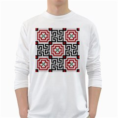 Vintage Style Seamless Black White And Red Tile Pattern Wallpaper Background White Long Sleeve T-Shirts