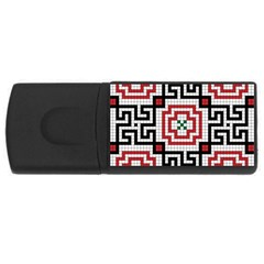 Vintage Style Seamless Black White And Red Tile Pattern Wallpaper Background Usb Flash Drive Rectangular (4 Gb)