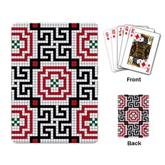 Vintage Style Seamless Black White And Red Tile Pattern Wallpaper Background Playing Card